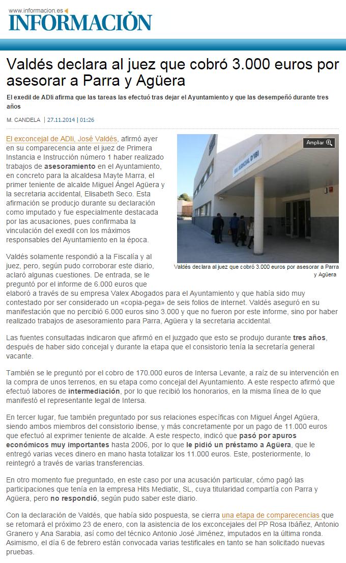 Información 271114 Valdés declara que cobró de Parra