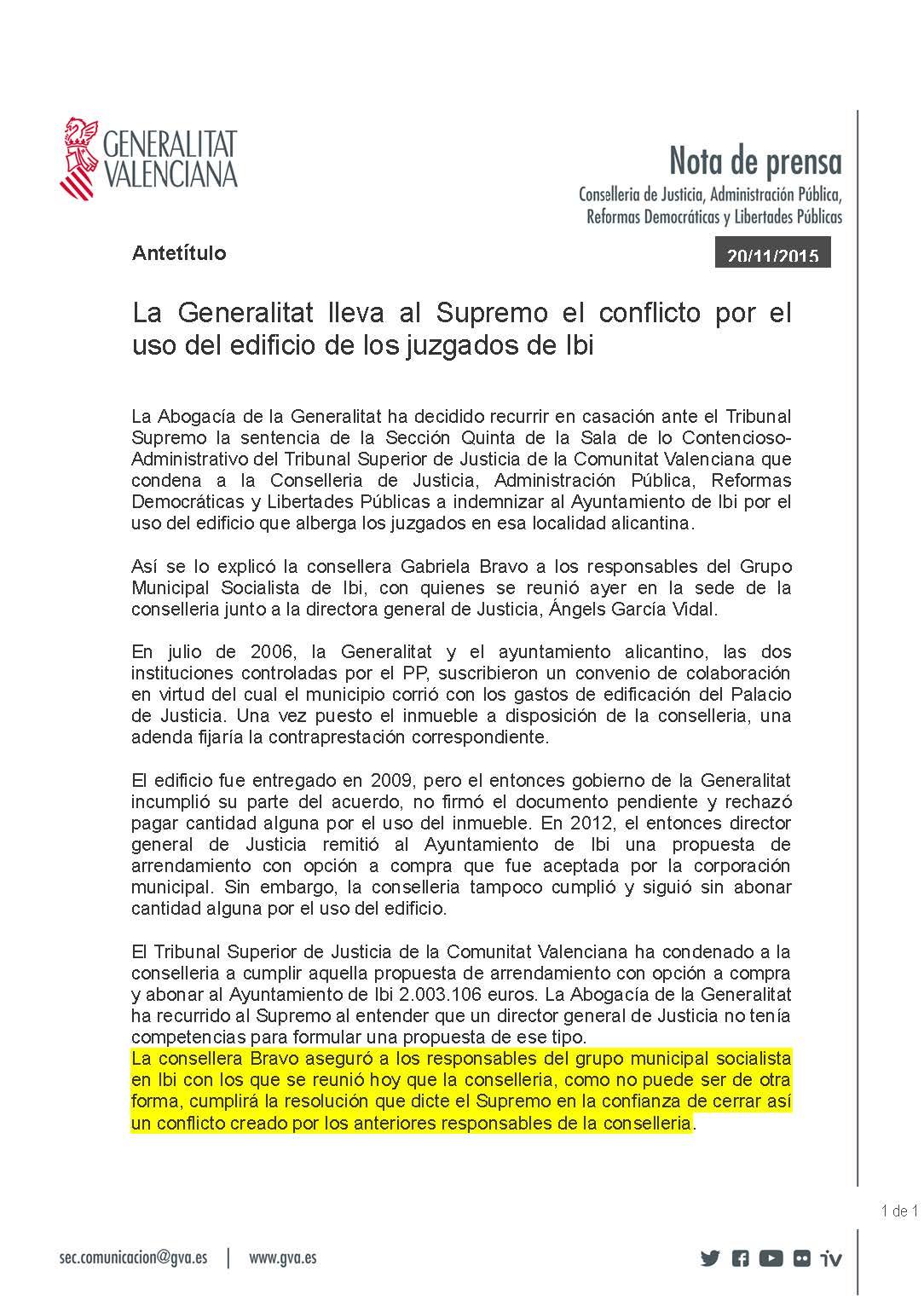 Nota Generalitat 20-11-15 Recurso y pago Palacio de Justicia