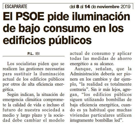 El PSOE pide iluminación de bajo consumo en los edificios públicos