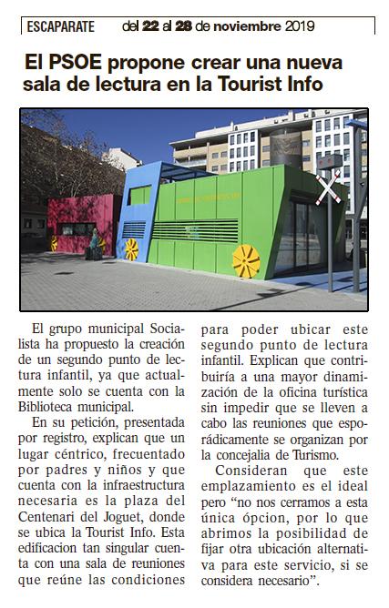 El PSOE propone crear una nueva sala de lectura en la Tourist Info