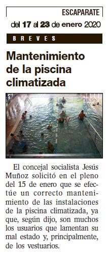 """Escaparate: """"Mantenimiento de la piscina climatizada"""""""
