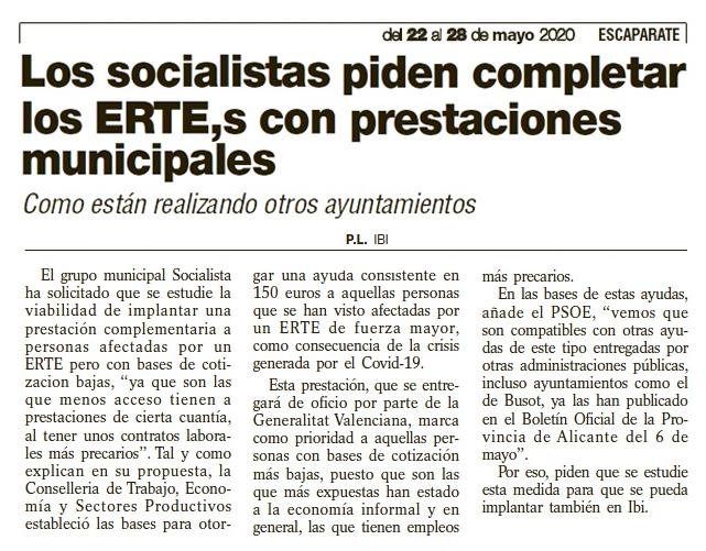 """Escaparate: """"Los socialistas piden completar los ERTE,s con prestaciones municipales"""""""